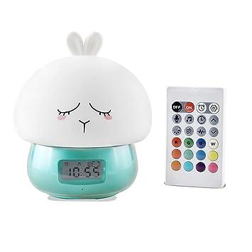 Kawaii Diseño de dibujos animados lindo Reloj despertador multifuncional Despertar Luz nocturna Control remoto Lámpara de luz de grabación de escritorio ...