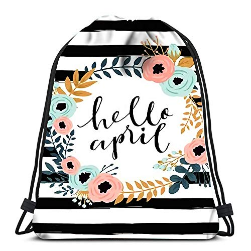 Drawstring Backpack Bags Cute Spring Floral Card Template Hello April Perfect For Invitation Scrapbooking Blog Sale Portable Shoulder Bags Travel Sport Gym Bag (For Sunglasses Blog Sale)