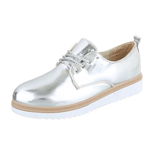 Ital-Design - Zapatos Planos con Cordones Mujer , color plateado, talla 40
