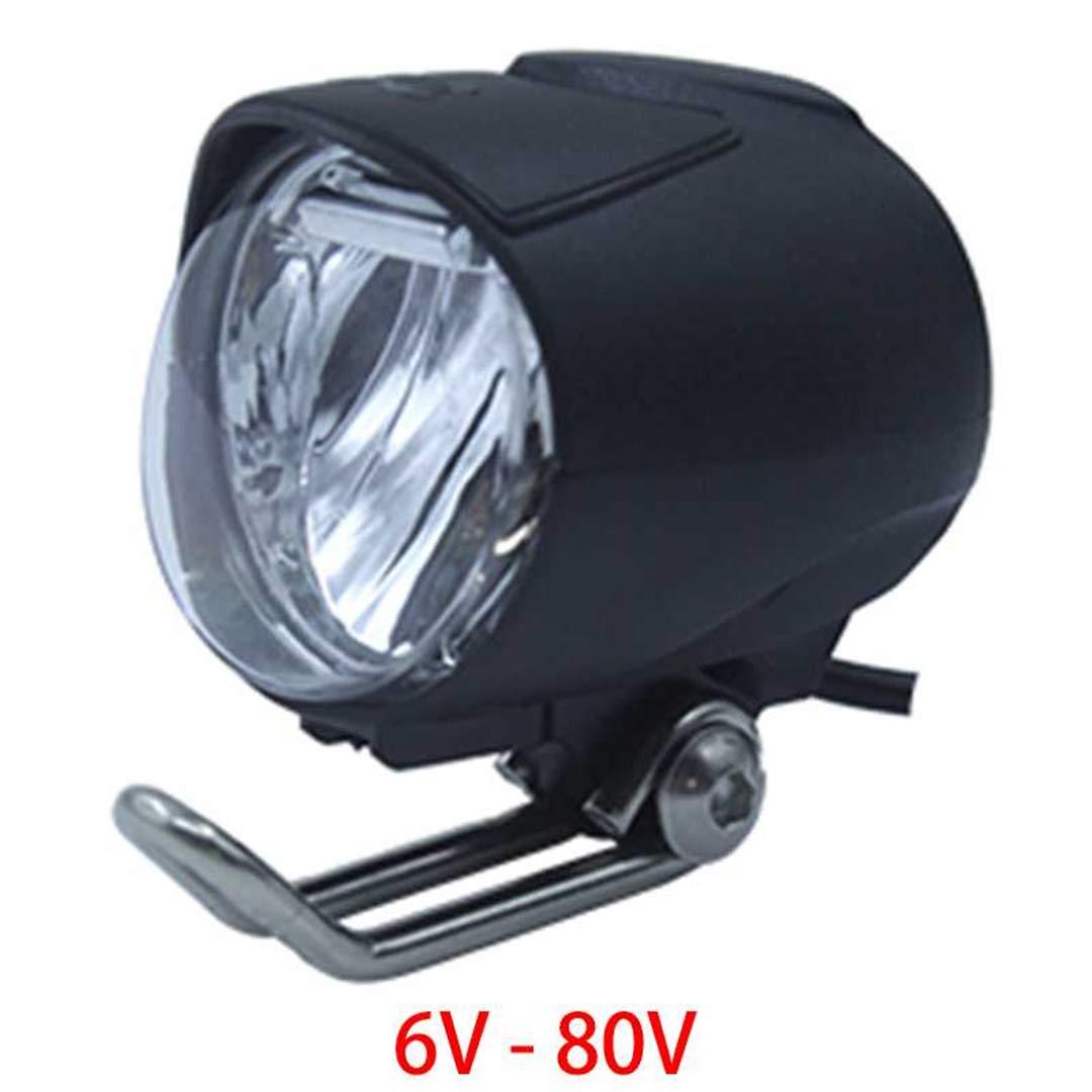 HEALTHLL 6V - 80V 12V 24V 36V 48V 60V 72V Universal E-Bike Headlight Taillight Horn Set Front Light Headlamp Rear Light Taillamp 1W 40LUX by HEALTHLL