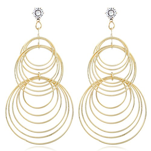 Large Multi Layered Open Circle Link Drop Statement Earring 18ct Gold Plated Gift For Her - 18k Circle Earrings