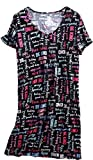Amoy-Baby Women's Nightgown Cotton Sleep Tee Short Sleeves Nightshirt Casual Print Sleepwear Black Letter 2XL