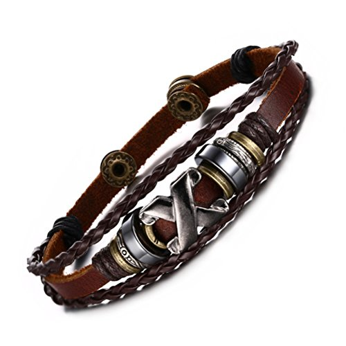 VNOX Men's Women's Handmade Bronze Alloy Buckle Braided Rope Bead Genuine Leather Bracelet Cuff ()