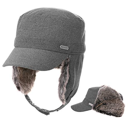 (Fancet Womens Earflap Army Military Winter Hunting Trapper Hat for Men Baseball Cadet Cap Combat Grey 56-58cm)