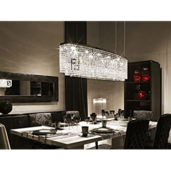 Awesome 7PM Modern Contemporary Luxury Linear Island Dining Room Crystal Chandelier  Lighting Fixture