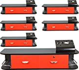 6x LCL Beauty Red Locking Wall Mount Styling Station with Black Metal Tabletop Appliance Holder & 4 Port Power Strip