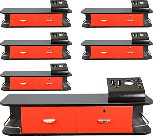 6x LCL Beauty Red Locking Wall Mount Styling Station with Black Metal Tabletop Appliance Holder & 4 Port Power Strip by LCL Beauty