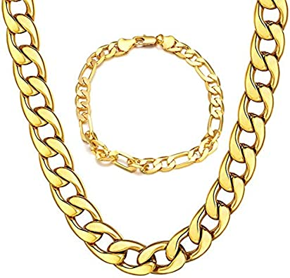 Men 18K Yellow Gold Plated 50cm 19.5 inch Long classic Chain Link Necklace UK