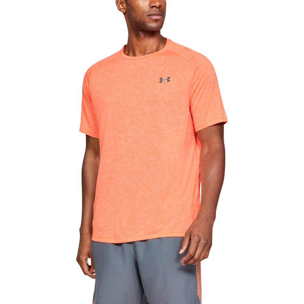 UNDER ARMOUR mens Tech 2.0 Short Sleeve T-Shirt, Orange Glitch (882)/Pitch Gray, X-Large by Under Armour