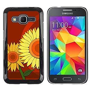 Resplandeciente Marrón Stands - Metal de aluminio y de plástico duro Caja del teléfono - Negro - Samsung Galaxy Core Prime