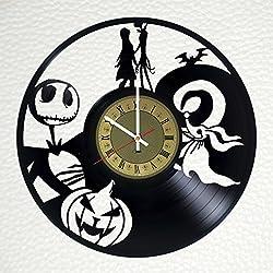The Nightmare Before Christmas Tim Burtons design vinyl wall clock - gift idea for men women friends girlfriend and boyfriend - home & office living room wall decor - customize your clock