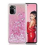 KC Liquid Glitter Moving Hearts Soft Transparent Silicone Back Cover for Mi Redmi Note 10 & Mi Redmi Note 10S (Pink)