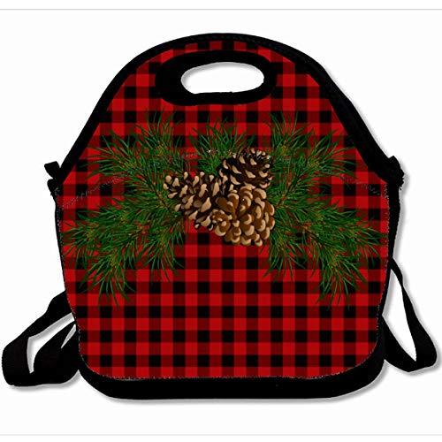 (Ahawoso Reusable Insulated Lunch Tote Bag Rustic Red Black Plaid Pine Cone Tartan 10X11 Zippered Neoprene School Picnic Gourmet Lunchbox)