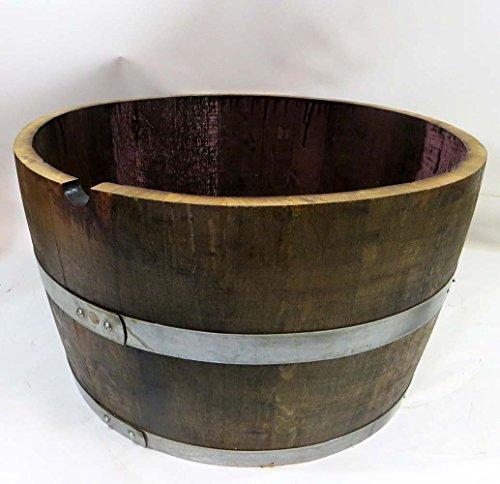 Lacquer Finished Oak Wood Half Wine Barrel, 27
