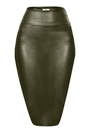 a2a72f9428 Olive Pencil Skirt Midi Leather Skirt for Women High Waisted Skirts, Made  in USA,
