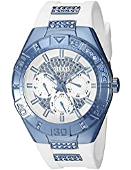 GUESS Womens U0653L2 Sporty White Silicone Watch with Sky Blue Accents and Multi-Function Dial