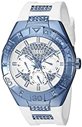 Guess Women's U0653l2 Sporty White Silicone Watch With Sky Blue Accents & Multi-function Dial