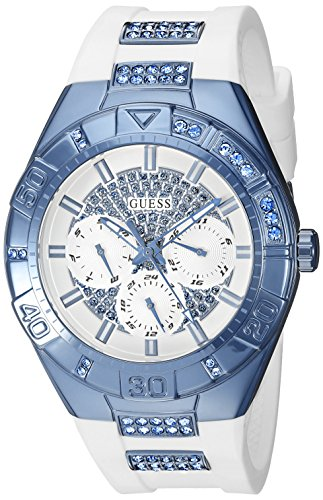 GUESS Women's U0653L2 Sporty White Silicone Watch with Sky Blue Accents and Multi-Function - Ladies Guess Dial White