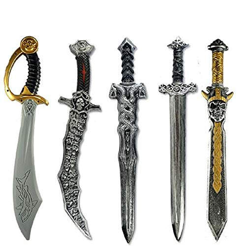 5pcs Halloween Party Prop Plastic Swords Pirate Knifes Halloween Party Performance Supply Costume Accessories