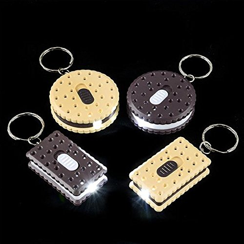 Halloween Desserts Finger Cookies (Kicko 1.75 Inch Cookie Keychain Flashlight - 12-Pack Assorted Shapes and Colors Sandwich Pocket-Sized Torch - LED Battery Powered Keyring Emergency Light for Loop Accessory, Camping, Party)