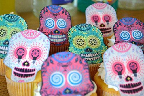 Edible Skulls - Dia De Los Muertos Cupcake Decorations -