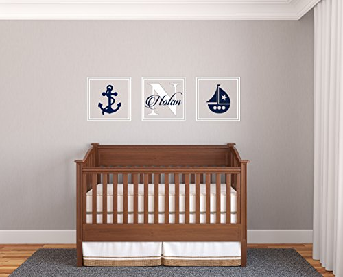 Custom Name & Initial Anchor And Boat - Prime Series - Baby Boy - Nursery Wall Decal For Baby Room Decorations - Mural Wall Decal Sticker For Home Children's Bedroom (Wide 32
