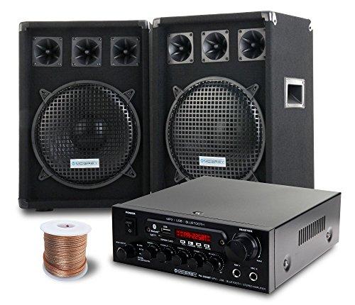 McGrey PA Komplettset DJ Anlage PowerDJ-2000 (System mit Partyboxen, Lautsprecher, 2 x 600 Watt, Bluetooth-Endstufe, Verstärker, Lautsprecherkabel)