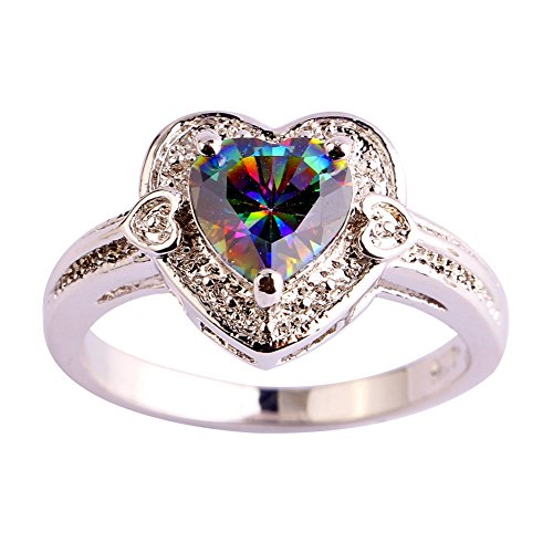Emsione Rainbow Topaz 925 Silver Plated Heart Cut Ring for Women ()