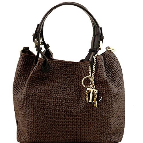 Tuscany Leather TL KeyLuck - Borsa shopping in pelle stampa intrecciata - TL141573 (Nero) Testa Di Moro