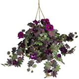Nearly Natural 6610 Morning Glory Hanging Basket Decorative Silk Plant, Purple