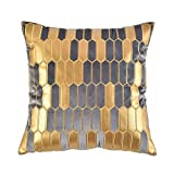 Artcest Decorative Velvet Bed Throw Pillow Case, PU Patchwork, Sofa Soft Golden Honeycomb Plaid Pattern, Comfortable Thick Couch Cushion Cover (Grey, 18 X 18 Inches)