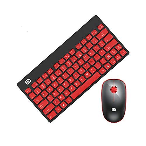 Wireless Keyboard and Mouse Combo, URCO Compact and Portable 2.4G Wireless Keyboard and 1600 DPI Optical Mouse (Black-Red)