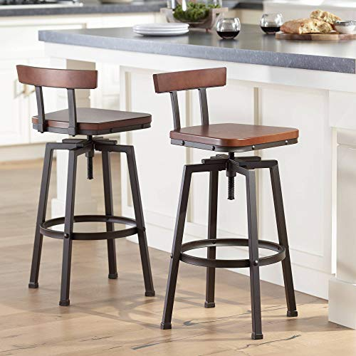 Roark Dark Bronze Adjustable Swivel Bar Stools Set of 2 - Elm Lane