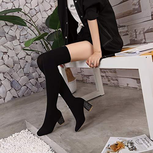 alti black KOKQSX 8cm tacchi i capi stivali ginocchia stivali respirabile black tacchi piazza 36 le wvHwSq8