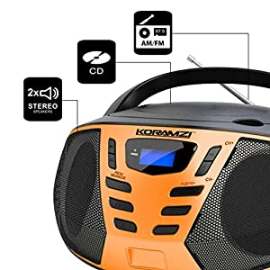 KORAMZI Portable CD Boombox with AM/FM Radio,AUX IN, Top Loading CD Player,Telescopic Antenna, LCD Display for Indoor & Outdoor,Offices,Home,Restaurants,Picnics,School ,Camping (Black/Orange) CD55-BKO