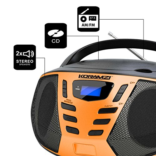 koramzi portable cd boombox with am fm radio aux in top. Black Bedroom Furniture Sets. Home Design Ideas