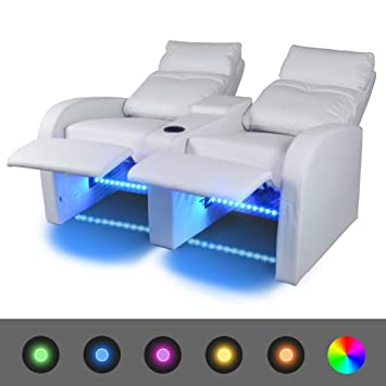 Luckyfu este Sillón de Cinema a 2 plazas reclinable con LED ...