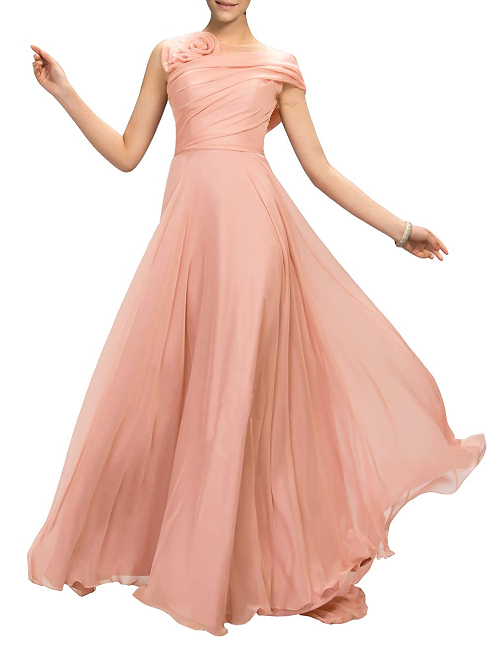 bluesh Uther Flower Long Prom Dress ALine Bridesmaid Dresses Formal Evening Party Gown