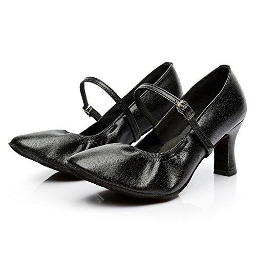 Chaussures En Cuir Pour Femmes Latine 7cm Noir