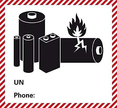120 x 110mm Etiquettes dangereuses Adh/ésif 3480//3481 Plaque 3090//3091 Piles lithium-ion Sans num/éro de t/él/éphone Sans n/° Auto-imprimante//adh/ésive