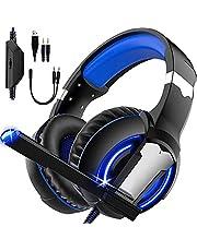 Fone de Ouvido para Jogos LED Light Bass Surround Soft Memory Earmuffs, Headset Gaming Adequado para PS2 Mac Nintendo 64 PS5 Xbox One,PS4,PC