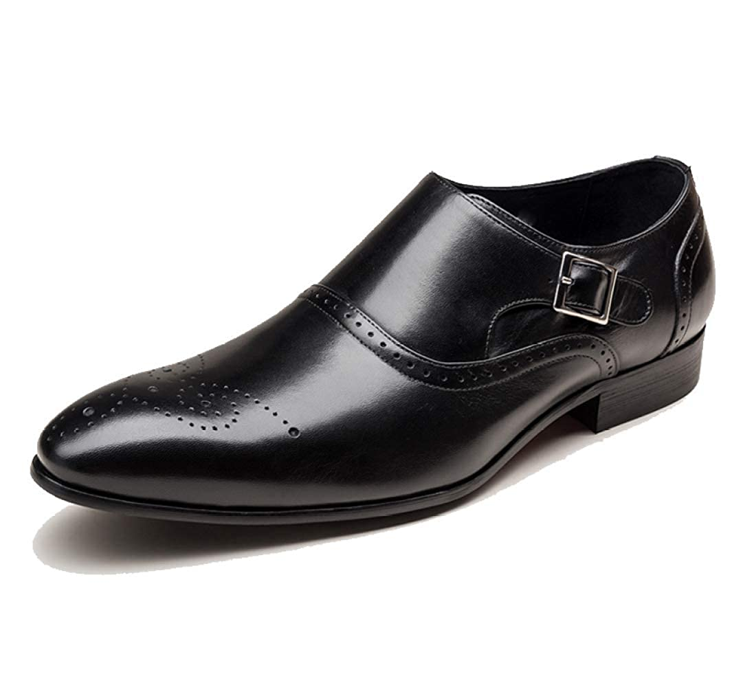 negro zapatos De Hombre Inglaterra Tallado Negocios Casual Hebilla Puntiaguda Wearable Shock Absorption