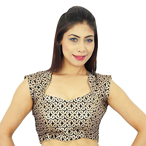 Diseñador sari blusa de ropa de la boda Weaving trabajo cosido Crop-Top Negro-1