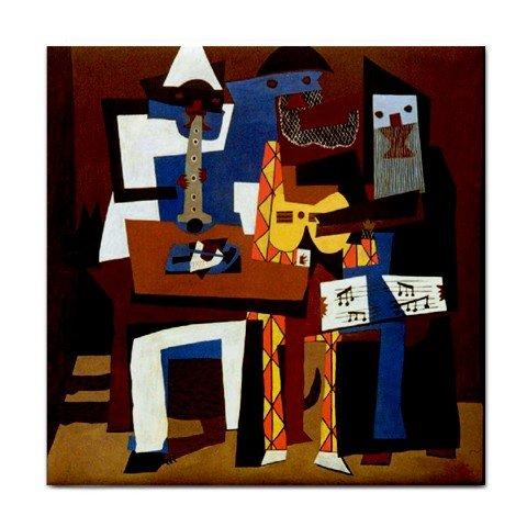 Three Musicians By Pablo Picasso Tile Trivet ()
