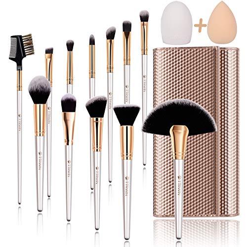 Make up Brushes,TTRWIN 12 Pcs Professional Makeup Brush Set,Face EyeShadow Eyeliner Foundation Lip Liquid Blending Brush ,with Makeup Sponge Brush Cleaner and Travel Makeup Bag