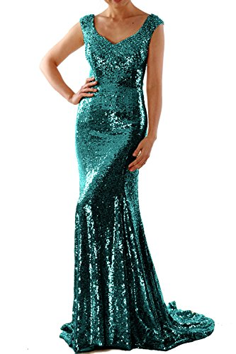 MACloth Women Mermaid Sequin Long Prom Dress Formal Evening Wedding Party Gown Teal