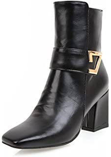Women's Fashion Square Toe Inside Zip Up Dressy Booties Block Mid Heel Ankle Boots With Zipper