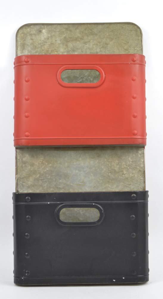 Concepts Red-Black 2 Pockets Metal Wall Organizer Size 12x23 Fun Office Colorful Design