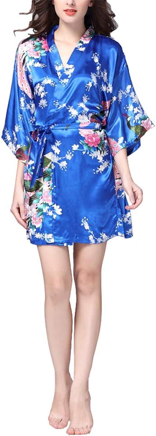 VILLAVIVI Vestido Párrafo Corto Mujer Kimono Pavo Flores Satén Albornoces Pijamas
