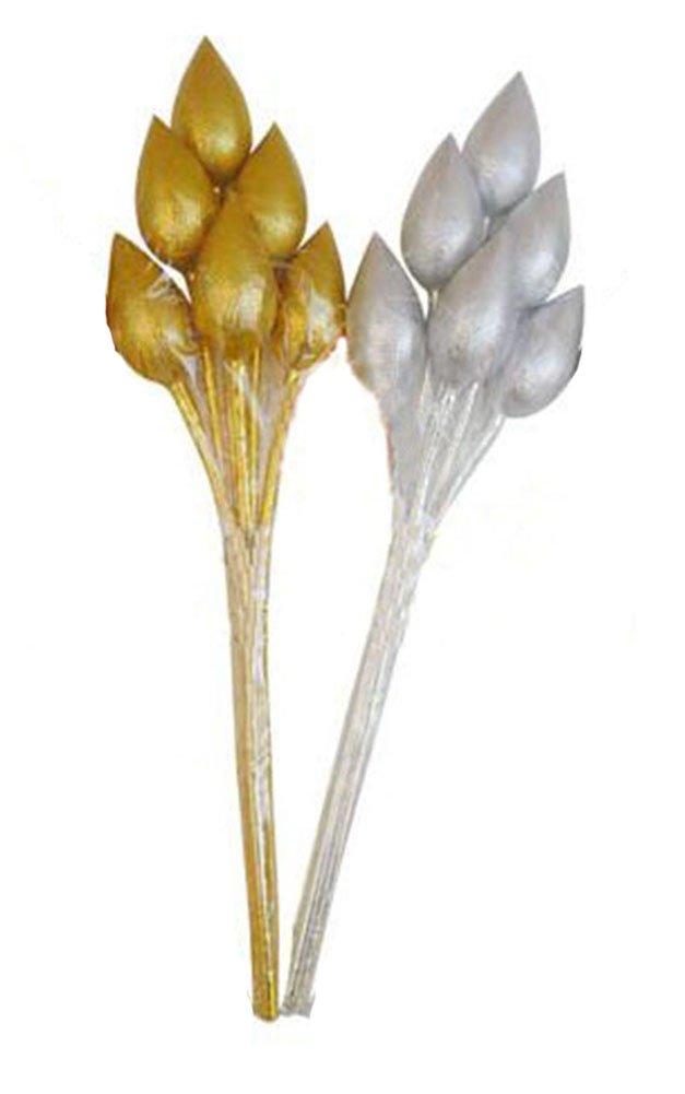 Thai Artificial Gold,Silver Lotus Bunch, Artificial flowers, Marigold flower, Gold Flowers, Silver Flowers, Artificial Lotus (6 stem per 1 case) by GoodGoodsThailand